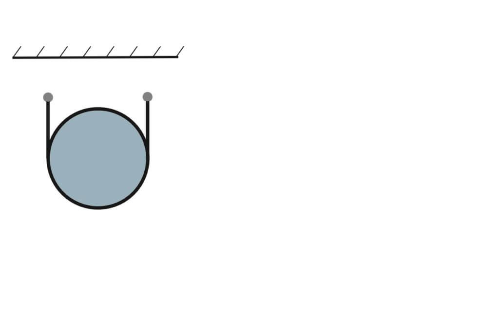 Montage van een ronde Airsock aan een dubbele staaldraad
